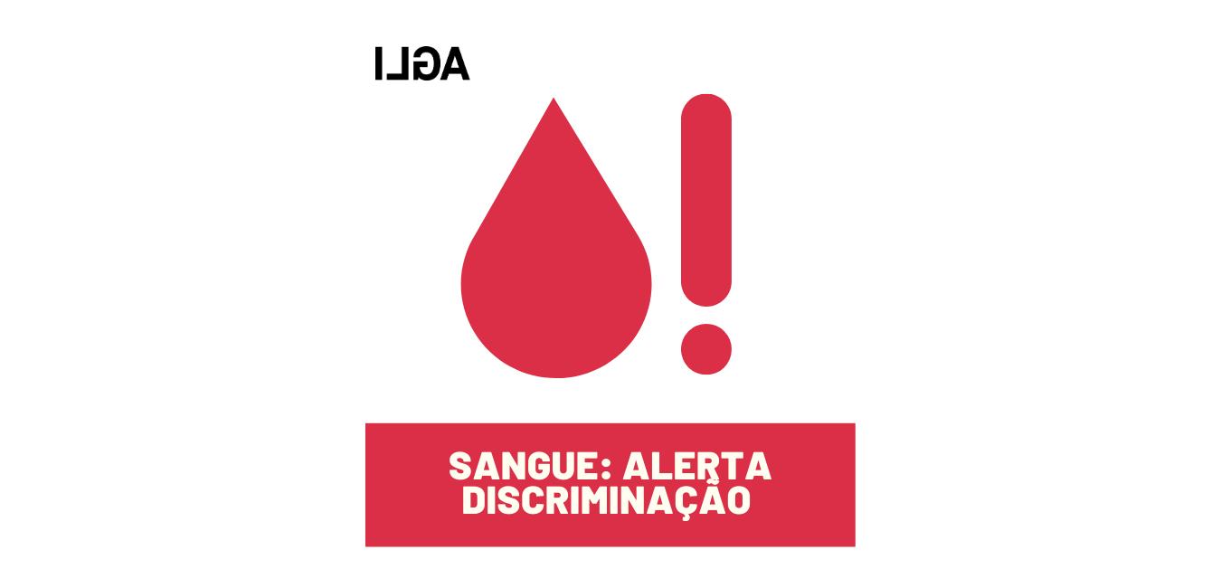Gota de sangue com ponto de exclamação, alertando para a discriminação na doação de sangue por parte de homens gays e bissexuais